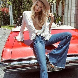 NWOT Free People denim super bell bottoms jeans 25